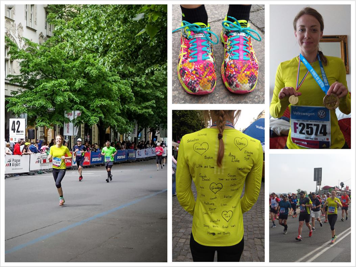 Different image of Claire Hughes completing the Prague maraton on 7 May 2017